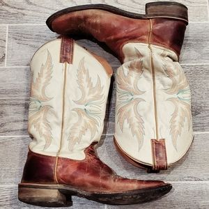 Womens justin cowboy cowgirl boots square toe 9